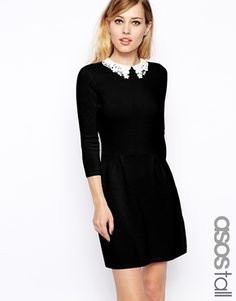 ASOS TALL Knitted Skater Dress With Lace Collar. I want the red one in my closet, stat.