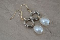Knot Hoop Link Chain Mail & Pearl, Opalite or Blue Glass Drop Earrings by ForestBeads, $19.99