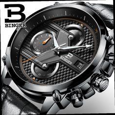 44.80$  Watch now - http://alijcc.worldwells.pw/go.php?t=32772865733 - Switzerland luxury watch BINGER brand quartz Men's Big Dial Designer Chronograph Water Resistant Wristwatches B-9018-5 44.80$