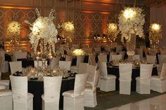 Regal Reception Décor    Photography: KingenSmith   Read More:  http://www.insideweddings.com/weddings/timeless-black-white-wedding-in-chicago-illinois/349/