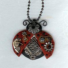 Steampunk  Red Ladybug Necklace Polymer Clay Jewelry. $24.00, via Etsy.
