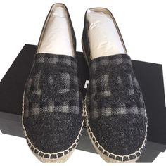 12b1290def4 Pre-owned Chanel Black gray Espadrilles Size 42 Flats (£600) ❤ liked on  Polyvore featuring shoes