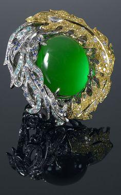 Anna Hu Phoenix Jade and Diamond Ring