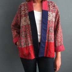 Indigowares is dedicated to using natural dyes in its textiles and up cycling and repurposing vintage fabrics. Kimono Cardigan, Kimono Jacket, Kimono Top, Kimono Style, Blouse, Kantha Quilt, Quilts, Vintage Fabrics, Quilted Jacket