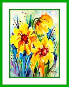 Bold Watercolor Sunflowers by MarthaKislingArt on Etsy Watercolor Sunflower, Watercolor Paper, Watercolor Paintings, Love Painting, Painting Frames, Sleeve Packaging, Colorful Paintings, Sunflowers, Summer Fun