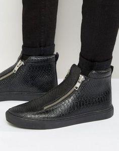 best sneakers ef71f 0df30 ASOS - Scarpe da ginnastica nere effetto pelle di serpente con zip e suola  grossa Scarpe