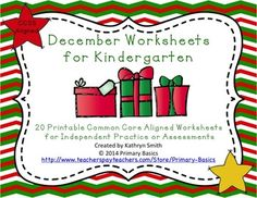 Christmas themed worksheets for Kindergarten Common Core Aligned  Worksheets included in this product:  2 Comparing Numbers Counting by 10 2 Writing Numbers to 20  1 Ten Frames with Equations 2 Teen Number Ten Frames 1 Sort and Graph Letter Naming and Nonsense Word Fluency Sheet 1 Rhyming 2 Story Elements Graphic Organizers 1 Syllables  2 Writing Letters  1 Beginning Sounds 1 Middle Vowel Sounds 1 Ending Sounds 1 Nonsense & Real Word Sort  Created by Primary Basics