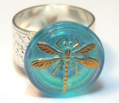 Beautiful Blue Czech Glass Dragonfly Button by SimplyStacyJewelry, $12.99