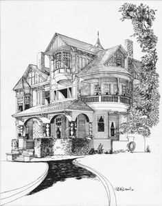 I got married in this house! I love the victorian excess of the place. It was originally done for my wedding invitations, after that I donated the original to the Dollar Mansion in San Rafael, CA. You can download this drawing NOW. No waiting. The file is 400 dpi and can be blown up fit onto an 8.5 x 11in. paper.