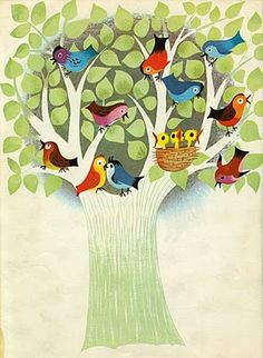 The art of Mary Blair - I used this as my inspiration to paint a mural at the end of a hallway Vintage Artwork, Vintage Children's Books, Vintage Illustrations, Bird Tree, Mary Blair, Tweet Tweet, Pretty Birds, Finding Neverland, Yarn Colors