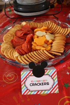 Mickey Mouse party cheese and crackers. Buy pre-cut cheese from Walmart