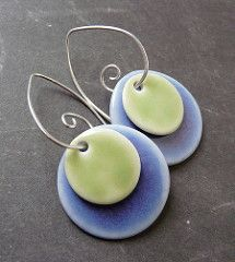 4 in 1 - Changable Periwinkle Blue and Celery Green Porcelain Earrings | by RoundRabbit