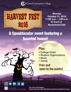 Harvest Fest is today, Monday, October 31, 2016! Join us from 11:00 a.m. to 1:00 p.m. in front of the bookstore/café. You'll have a spooktacular time!   #HarvestFest2016 #Halloween
