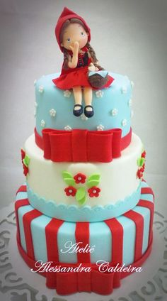 gateau Little Red Riding Hood Baby Cakes, Girl Cakes, Sweet Cakes, Pretty Cakes, Cute Cakes, Beautiful Cakes, Amazing Cakes, Fondant Cakes, Cupcake Cakes