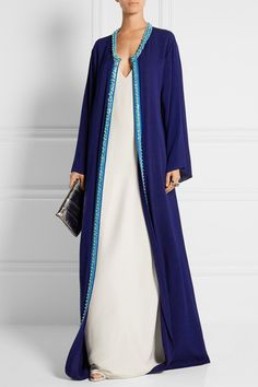 Navy and off-white silk-crepe Concealed hook fastening at front 100% silk Dry clean Imported