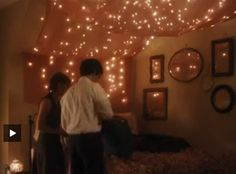 The perks of being a wallflower ; fairy lights ; Sam's bedroom...i love the twinkling lights and canopy