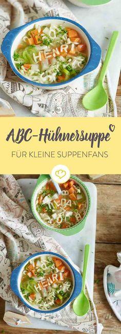 Für kleine Suppenkasper machen ABC-Nudeln den Unterschied und schon loben sie deine schnelle Hühnersuppe als besonders L-E-C-K-E-R.
