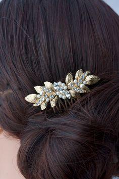 Small Hair Comb Gold Wedding Comb Leaf Comb by LuluSplendor