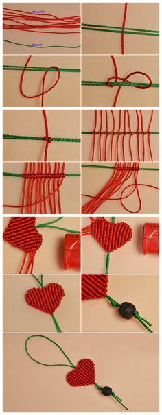 Beebeecraft tutorials on how to make red love stringmaterials braided heart hanging ornaments Macrame Knots, Micro Macrame, Macrame Jewelry, Fabric Jewelry, Macrame Bracelets, Bee Crafts, Yarn Crafts, Diy And Crafts, How To Make Red