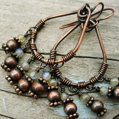 Labradorite and Antiqued Copper Wire Wrapped by BearRunOriginals, $20.00