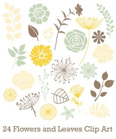 INSTANT DOWNLOAD 24 Assorted Leaves and by aestheticaddiction, $2.99