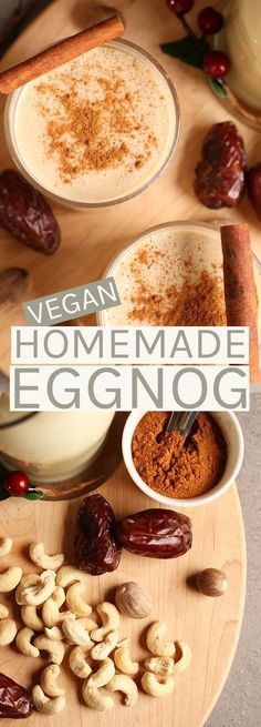 Vegan homemade eggnog made with cashew milk and sweetened with dates.