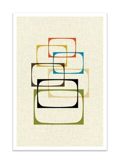 SHOW - Giclee Print - Mid Century Modern Danish Modern Minimalist Cubist Modernist Eames Abstract. $24.00, via Etsy.