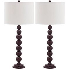 Safavieh Jenna Stacked Ball Lamp with CFL Bulb, Multiple Colors, Set of 2, Purple