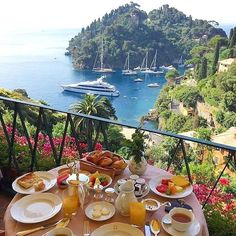 ITALY – A view from the restaurant terrace at the Belmond Hotel Splendido, Liguria province. It's located at Viale Baratta 16 @ Strada provinciale 227 di Portofino, just outside the village of Portofino, and kilometres miles) from Genoa. Places To Travel, Places To See, Travel Destinations, Dream Vacations, Vacation Spots, Summer Vacations, Luxury Boat, Luxury Yachts, Luxury Hotels