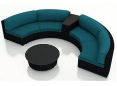 Harmonia Living Urbana Eclipse 4 Piece Modern Patio Sectional Sofa Set with Blue Sunbrella Cushions