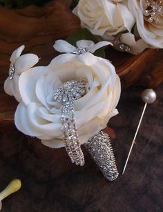 """Crystal Diamond Corsage & Bouquet Jewelry Pin with 3"""" Hanging Rhinestones $5 each/ 3 for $4 each"""