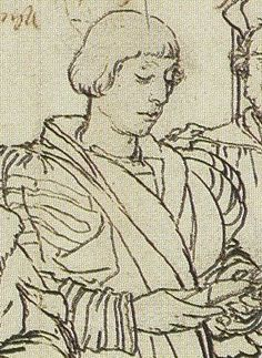 John More the Younger, Detail of Study for portrait of the More family, by Hans Holbein the Younger(1498+1543)--from the compositional sketch  Date circa 1527 Source Stephanie Buck, Hans Holbein, Cologne: Könemann, 1999,