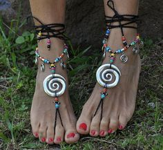 256f9012 Silver Vortex BAREFOOT SANDALS BLACK Foot jewelry Hippie Sandalias De Pies  Descalzos, Sandalias Negras,