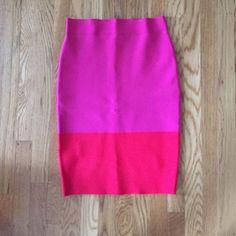 BCBG Max Azria Fuschia and Red Bandage Skirt This Knee length bandage pencil skirt will turn heads! BCBGMaxAzria Skirts Pencil