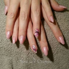 """acrylic nailextensions with opi nailpolish and handpainted flowers i love my job and i am crazy about nailart"""