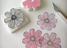 Recognizing Ignaz Semmelweis and Handwashing Stamp Printing, Printing On Fabric, Book Crafts, Paper Crafts, Eraser Stamp, Stamp Carving, Fabric Stamping, Handmade Stamps, Flower Stamp