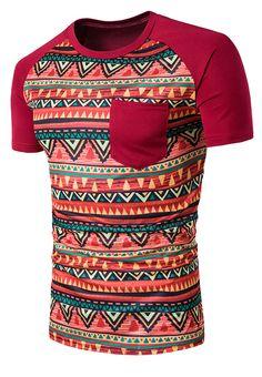Geometric Tribal Print Crew Neck Pocket T-Shirt