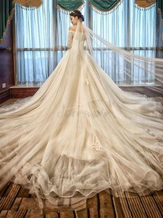 Hot Sale Luxury Soft Tulle Hand made Lace Ball Gown Wedding Dresses Boat Neck Half Sleeve Princess Bridal Gowns Royal Train 2016 Wedding Dresses, Wedding Dresses Plus Size, Bridal Dresses, Wedding Gowns, Dresses 2016, Modest Wedding, Ball Dresses, Ball Gowns, Off Shoulder Ball Gown