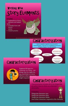 Introduces and expands on the basic story elements of character and characterization, setting, plot, conflict and resolution, and theme. This PowerPoint presentation explains each concept in a clear and easily understandable way.   Examples relate the story elements to well-known literature, and students are invited to think of the story elements in stories that they have read as well. Student activities are included as well as a review of all of the story elements at the end.