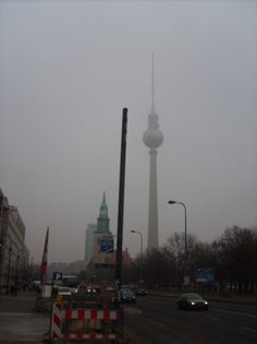 Unter den Linden with view on the Fernsehturm in Berlin, Germany