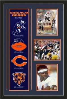 Chicago Bears Banner With Logos- Walter Payton legends composite photo, Walter Payton action photo, Walter Payton - on sidelines photo Framed With Different Team Photos-Awesome & Beautiful-Must For Any Fan!