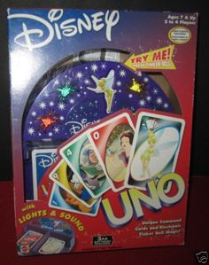 Disney Eclectronic UNO Game Lights Sounds 2003 Characters Tinkerbell NIB Sealed