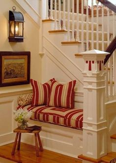 So many old brick homes in Roanoke have staircases like this. Ideas for our first home--bench idea!