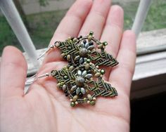 Rustic micro macrame earrings - Olive Green Earthy Glass Picasso beads - Boho Bohemian Ethnic