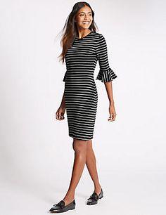 Frill Cuff Striped 3/4 Sleeve Tunic Dress