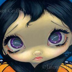 ... purple big eye fairy face art print by Jasmine Becket-Griffith 6x6