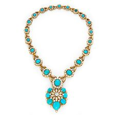 Marquisecut Persian turquoise diamond and gold locket pendant