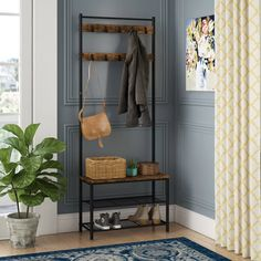 Williston Forge Parke Hall Tree & Reviews | Wayfair Bench With Shoe Storage, Upholstered Storage Bench, Entryway Shoe Storage, Coat Storage, Storage Benches, Shoe Bench, Entryway Bench, Hall Tree Bench, Hall Trees