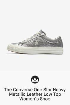298f48dc859f The Converse One Star Heavy Metallic Leather Low Top Women s Shoe  women   shoes  metallic  shoe  silver