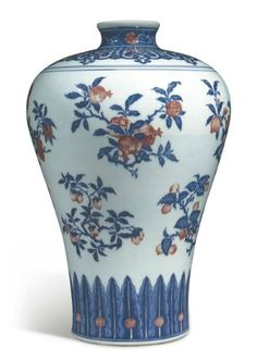 Copper-red and underglaze-blue decorated 'fruit sprays' meiping, seal mark and period of Qianlong Sotheby's Hong Kong, November lot 301 Blue And White Style, Blue And White China, Asian Vases, Asian Decor, Miniature Crafts, Chinese Ceramics, Blue And Copper, Vintage Vases, Ancient China